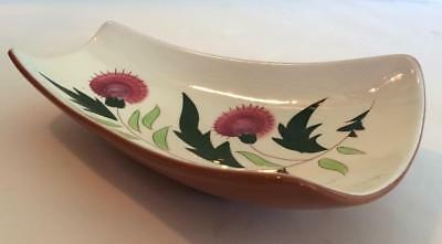 """Vintage STANGL POTTERY """"THISTLE"""" Curved Serving Platter Relish Dish Footed EUC"""