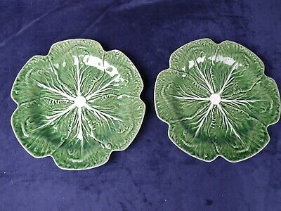 "2 Rare 12"" Bordallo Pinheiro Portugal Green Cabbage Lettuce Dinner Plate Platter"