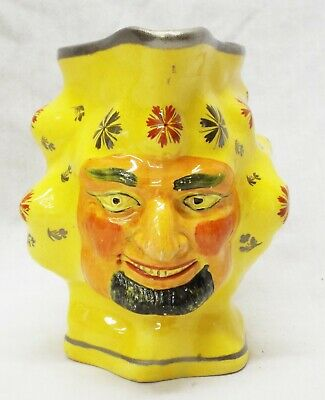 EARLY Antique c1820 STAFFORDSHIRE Canary Pearlware GRINNING SATYR Face PITCHER