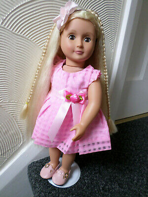 "Our Generation Doll Battat 18"" Blonde Growing Hair Brown Eyes"