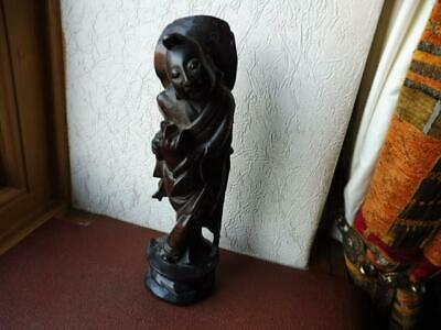 Antique Carved Wood with silver inlay Japanese Chinese Buddha God Figure