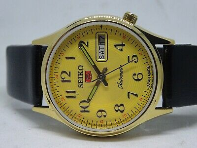 *seiko 5 Day&date Automatic Yellow Color Dial Numeric Figure Working Watch