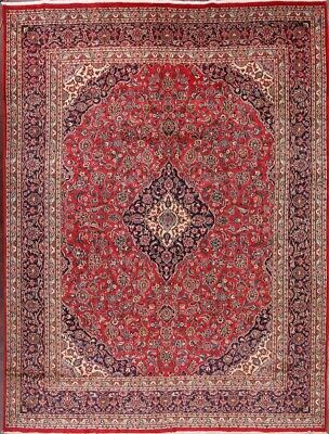Handmade Vintage Traditional Floral Red 10x13 Kashmar Persian Oriental Area Rug