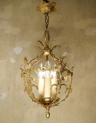 Small Italy Old Brass Chandelier Lamp Ceiling Lightings Used 3 Light Lustre