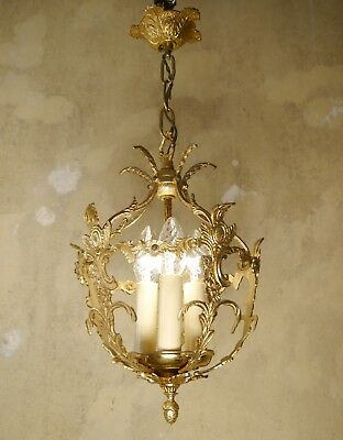 Small Italy Vintage Brass Chandelier Lamp Ceiling Lightings 3 Light Lustre