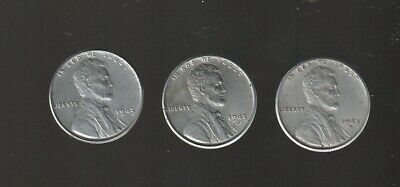 1943 + 1943D + 1943S ~  Steel  Lincoln  Cent  Set  ~Higher Grade~  Rs Coins Sale