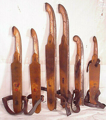 3 Pair Dutch  Antiques Wooden Ice Skates Friese Marked Folk Art Skating Sport
