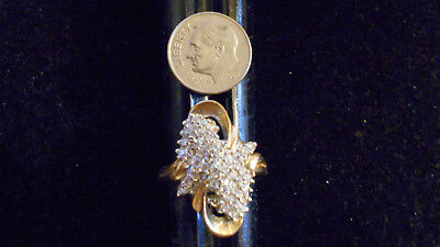 bling gold plated iced cz fashion cocktail cluster ring hip hop jewelry gp sz 11