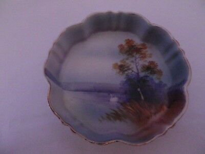 Fab Vintage Japanese Noritiki Porcelain Swan On Lake Pin Dish/bowl 10.5 Cms Dia