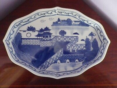 Fab Vintage Chinese Blue & White Oriental House Scene Design Tray 28 Cms Long