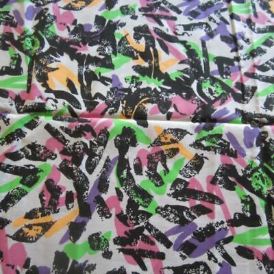 Neon Abstract Retro Vintage Cotton Fabric 1980s 100cm x 112cm Black LIme Pink