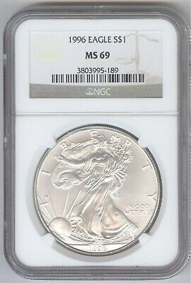 1996 American Silver Eagle S$1 + MS 69 + NGC + No Reserve!