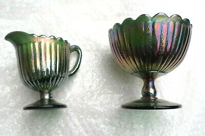 Vintage Carnival Glass green Creamer/Jug with matching bowl rare item  Fenton?