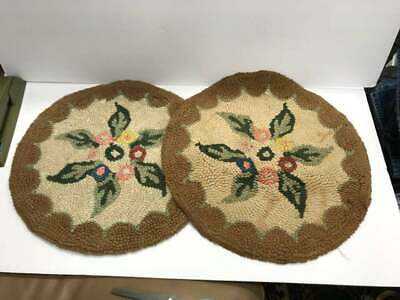 """Vintage Antique Needlepoint Hooked Wool Chair Covers 14"""" Round Floral border"""