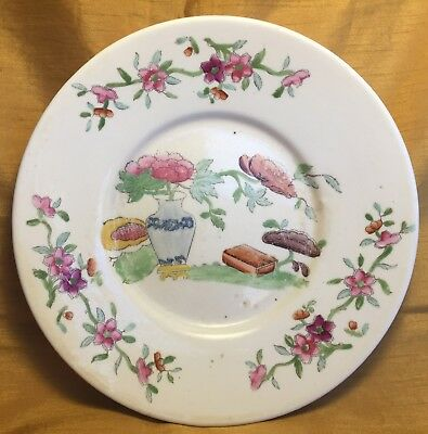 Antique Chinese Porcelain Plate w Hand Painted Vase Chrysanthemum Flower + Book