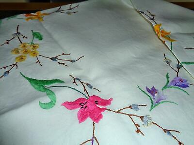 A Stunning Heavy Linen Vintage Hand Embroidered Spring Flowers Tablecloth