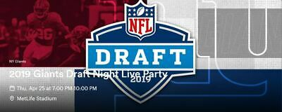 New York Giants 2019 Draft Party Tickets Thursday 4/25/19 GA Met Stadium 7:00 PM