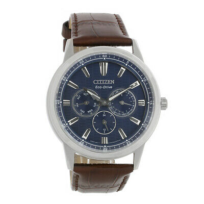 Citizen Eco Drive Mens Corso Multifunction Brown Strap Watch BU2070-12L