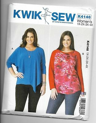 KWIK SEW SEWING PATTERN 4246 MISSES 8-22 PULLOVER TOPS SLEEVE FLOUNCES RUFFLES