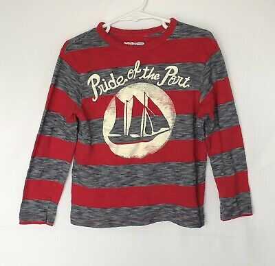 Baby Gap Toddler Boy's Long Sleeve Graphic T Shirt Stretch Red Gray Stripes Sz 5