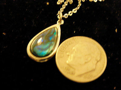 bling silver abalone paua shell tear drop beach pendant charm necklace jewelry
