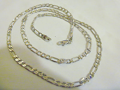 bling SILVER plated 24 IN FIGARO chain hip hop LONG necklace thug FAT DOOKIE GP