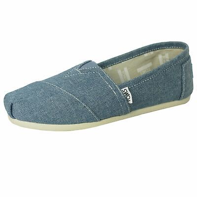Toms Shoes Classic Womens Plimsolls Blue Sub Chambray Espadrilles