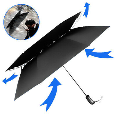 Durable Travel Automatic Open Vented Windproof Double Canopy Umbrella All Black