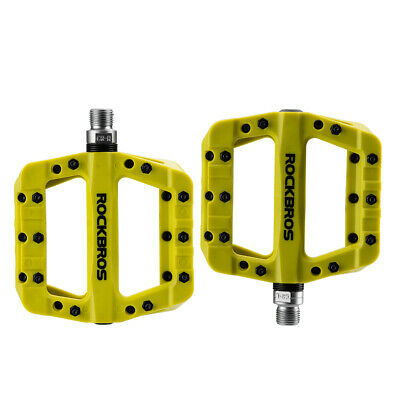 RockBros MTB Mountain Road Bike Bicycle Bearing Pedals Wide Nylon Pedals Green