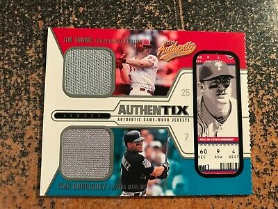 Jim Thome/Ivan Rodriguez 2004 Fleer Authentix DUAL GAME JERSEY TICKET RIPPED