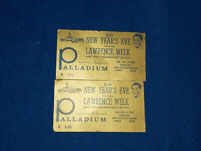Vintage 1972 LAWRENCE WELK NEW YEAR'S EVE Palladium Dinner Tickets Dinner Party