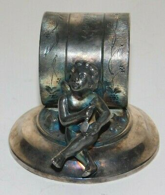 Meriden Silver Plate Co. Silver Plated Child Angel Cupid Figural Napkin Ring