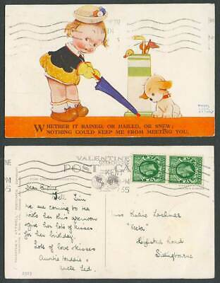 MABEL LUCIE ATTWELL 1935 Old Postcard Girl Nothing Keep Me from Meeting You 2313