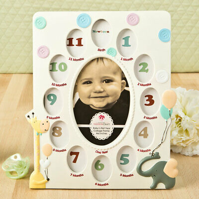 Giraffe and Elephant Baby Collage Photo Picture Frame Baby Shower Gift