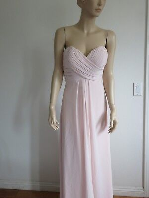 7e4fbf235e4 Bill Levkoff Sheer Pink Pleated Padded Strapless Prom Formal Maxi Dress Size  S