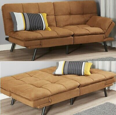 SLEEPER SOFA BED Suede Convertible Couch Modern Futon Living ...