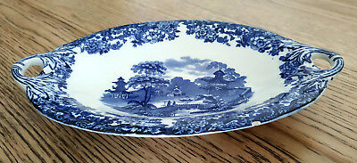 2 Wedgwood Fish Plates Dishes Used Original Antique Blue Chinese Etruria England