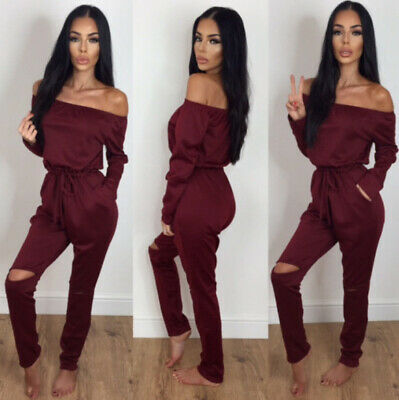 Women solid Casual Jumpsuit Club wear Bodycon Playsuit Long Pants Trouser Red