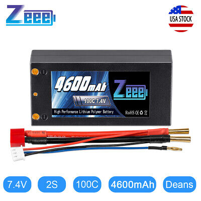 Zeee 7.4V 4600mAh 100C Shorty 2S Lipo Battery Deans 4mm Bullet for RC Car Buggy