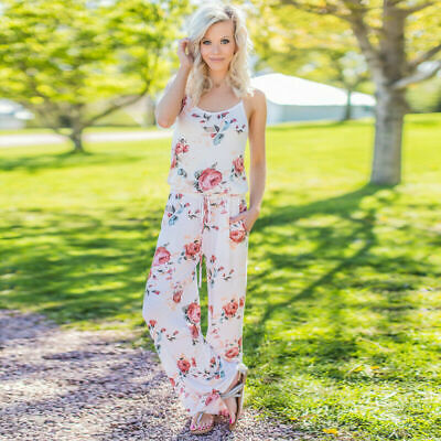Women Strappy Sleeveless Playsuit Bodycon Party Floral Trousers Jumpsuit White