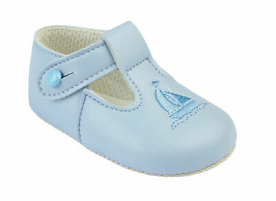 Baypods baby boys traditional UK made blue boat shoes UK 3 / 12-18 months BNWT