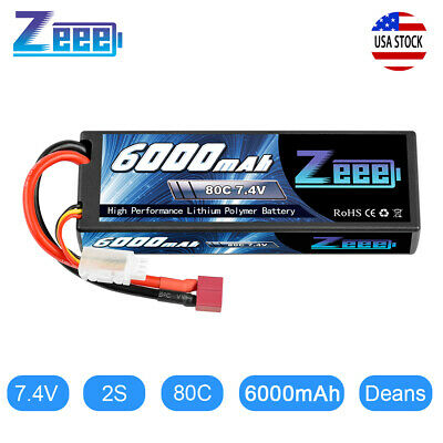 Zeee 80C 6000mAh 7.4V 2S Hardcase LiPo Battery Deans Plug for RC Car Truck