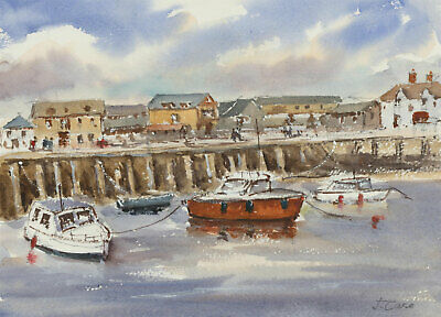 John A. Case - Signed Contemporary Watercolour, Harbour Scene