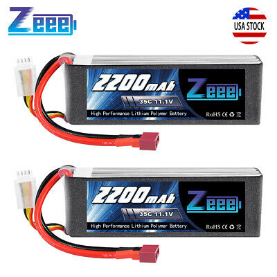 2x Zeee 2200mAh 35C 11.1V 3S Lipo Battery Deans for RC Helicopter Airplane Car