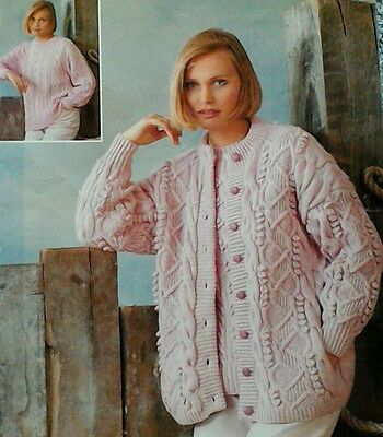 Knitting pattern ladies Textured Cardigan & Sweater Aran & DK Sizes 32 to 42