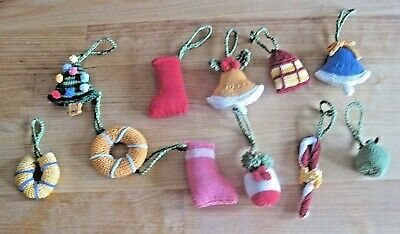 11 Hand Knitted Xmas Luxury Cotton Hanging Decorations. 2 Inches Or Less.