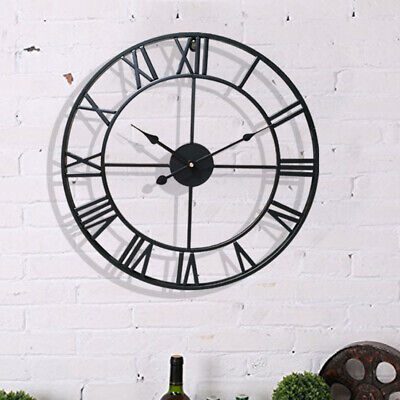 UK 40/60cm Wall Clock Round Face Black Large Outdoor Garden Metal Roman Numeral