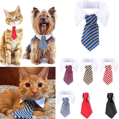 Striped Pet Bow Tie Collar Adjustable Necktie Bowknot Clothes For Pet Dog Cat UK