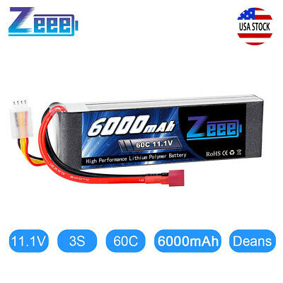 6000mAh 11.1V 60C 3S Deans Plug LiPo Battery for RC Car Truck Helicopter Boat