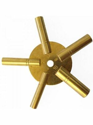 Clock Winding Key Brass Even Sizes Star Spider Bench 2 4 6 8 10 Winder 5 Prong